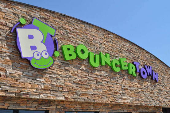 channel letter set in Greenwood Indiana for Bouncer Town