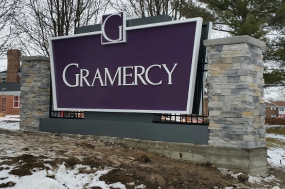 Monument sign at Gramercy Apartments in Indianapolis