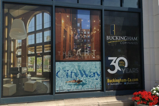 perforated window vinyl for buckingham comapnies storefront