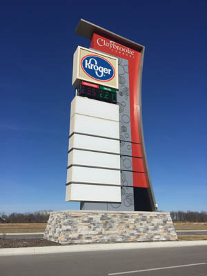 multi-tenant pylon sign installed by ISF Signs in Greenwood, IN